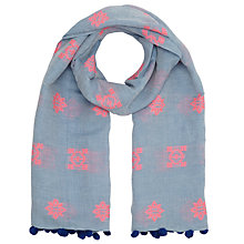 Buy John Lewis Pom Pom Embroidery Scarf, Chambray Online at johnlewis.com