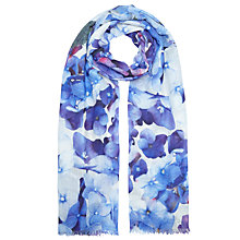 Buy John Lewis Wool and Silk Blend Hydrangea Floral Scarf, Bright Blue Online at johnlewis.com