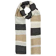 Buy John Lewis Two Sided Stripe Scarf, Taupe/Sand Online at johnlewis.com