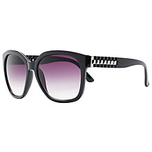 Buy John Lewis Large Square Ridge Arm Sunglasses, Black Online at johnlewis.com