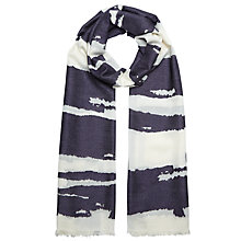 Buy John Lewis Burnt Out Stripe Scarf, Navy/White Online at johnlewis.com