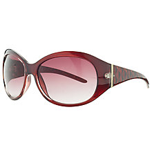Buy John Lewis Large Contrast Oval Wrap Gradient Sunglasses, Maroon Online at johnlewis.com