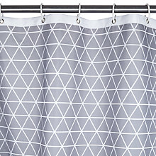 Buy House by John Lewis Isometric Shower Curtain, White / Steel Online at johnlewis.com