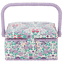 Buy John Lewis Daisy Chain Print Small Square Sewing Basket, Purple Online at johnlewis.com