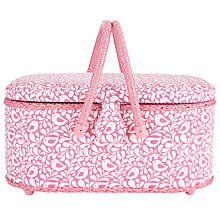 Buy John Lewis Robin Print Oval Sewing Basket, Pink Online at johnlewis.com