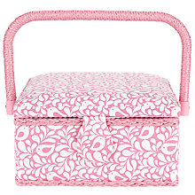 Buy John Lewis Robin Print Small Square Sewing Basket, Pink Online at johnlewis.com
