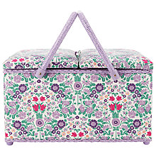 Buy John Lewis Daisy Chain Print Twin Lid Sewing Basket, Purple Online at johnlewis.com