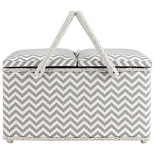 Buy John Lewis Zig Zag Print Twin Lid Sewing Basket, Grey Online at johnlewis.com