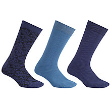 Buy Kin by John Lewis Geometric Socks, Pack of 3, One Size, Blue Online at johnlewis.com