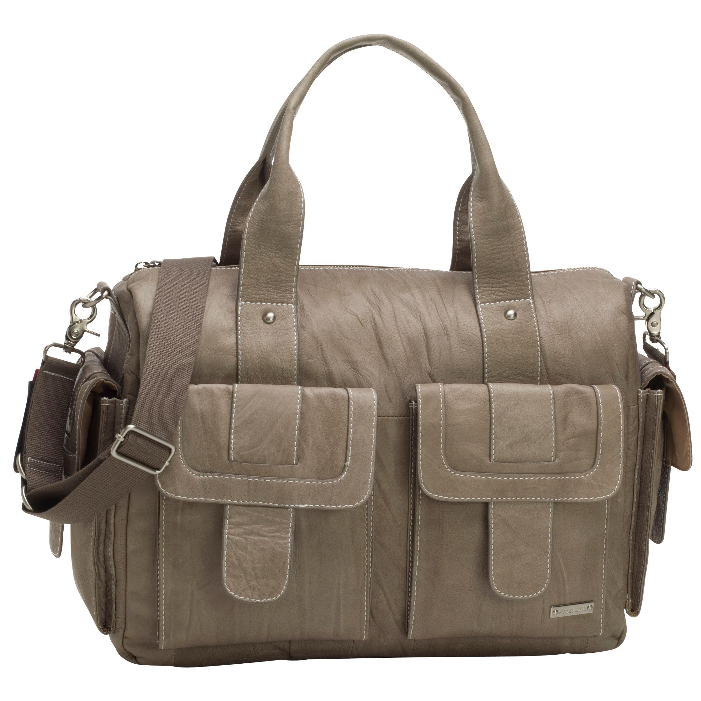 Storksak Storksak Sofia Leather Baby Changing Bag, Taupe