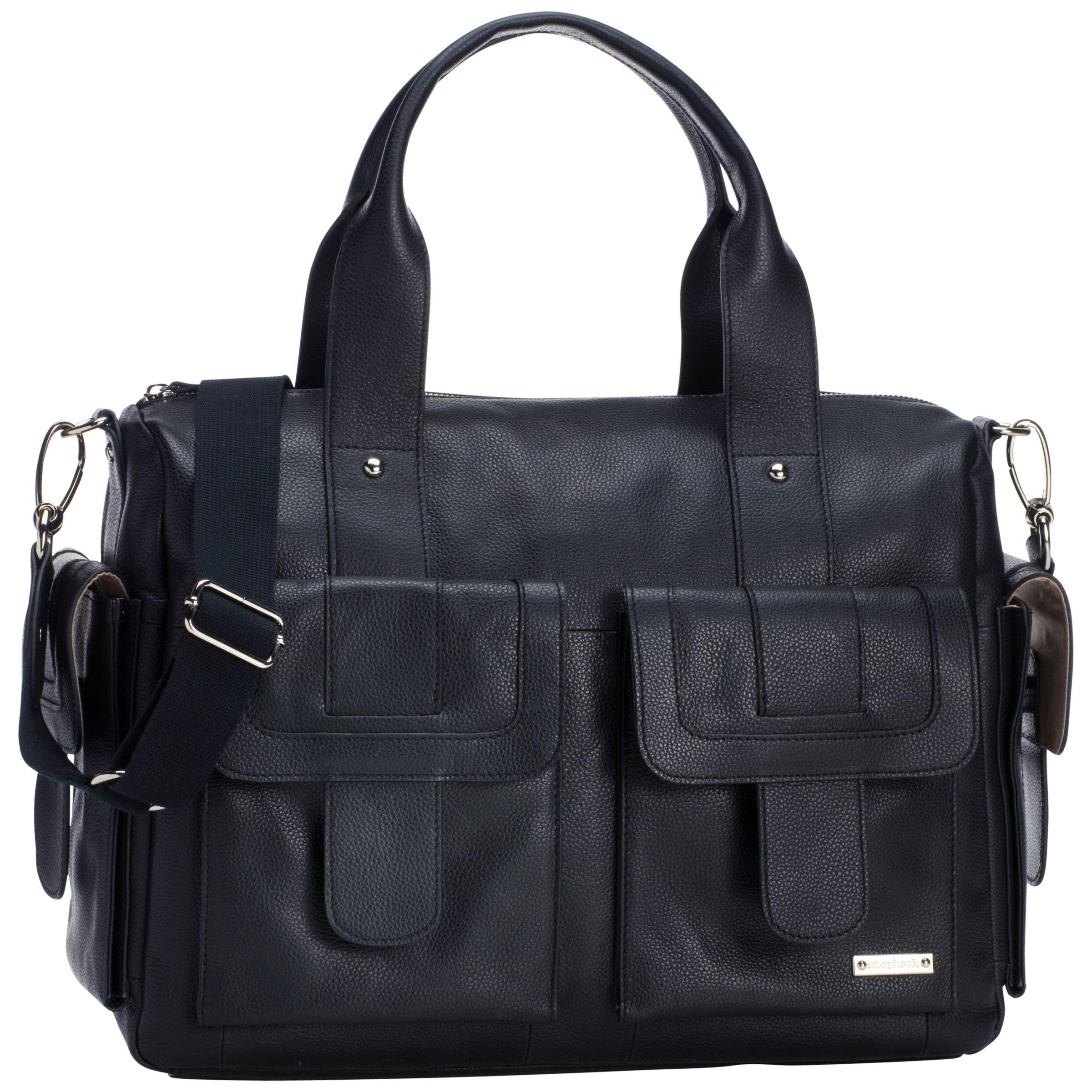 Storksak Storksak Sofia Leather Baby Changing Bag, Black