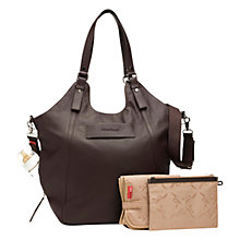 Buy Storksak Ellena Leather Baby Changing Bag, Chocolate Online at johnlewis.com