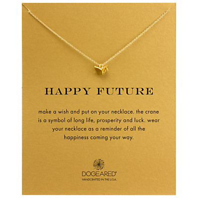 Dogeared 14k Gold Plated Sterling Silver Happy Future Origami Crane Necklace, Gold