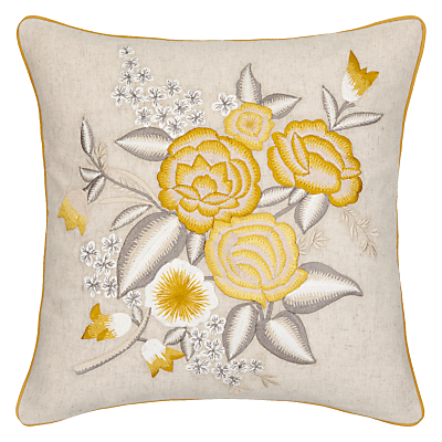 John Lewis Country Flowers Cushion, Yellow