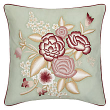 Buy John Lewis Country Flowers Cushion, Pink / Duck Egg Online at johnlewis.com