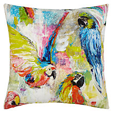 Buy John Lewis Parrots Cushion, Multi Online at johnlewis.com