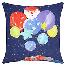Buy little home at John Lewis Man on the Moon Christmas Cushion, Blue/Red Online at johnlewis.com