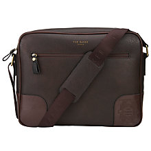 Buy Ted Baker Docdre Embossed Messenger Bag, Chocolate Online at johnlewis.com