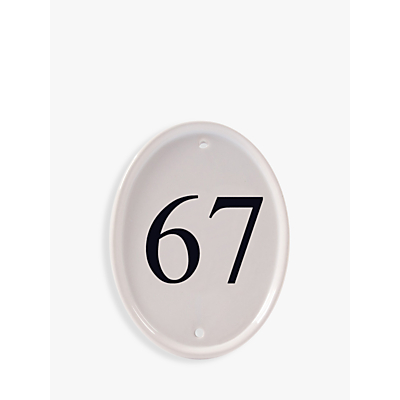 The House Nameplate Company Ceramic Oval House Number, White