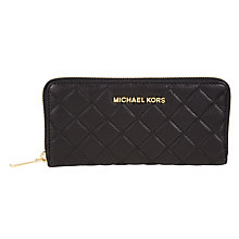 Buy MICHAEL Michael Kors Susannah Zip Across Continental Leather Purse, Black Online at johnlewis.com