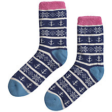 Buy Seasalt Fluffy Cabin Ankle Socks, Navy/Pink Online at johnlewis.com