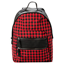 Buy Mango Plaid Zip Backpack, Bright Red Online at johnlewis.com