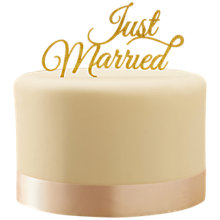 Buy Ginger Ray Gold Just Married Cake Topper Online at johnlewis.com