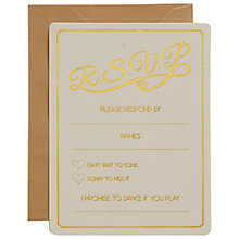 Buy Ginger Ray Ivory & Gold Foiled Wedding RSVP Cards, Pack Of 10 Online at johnlewis.com