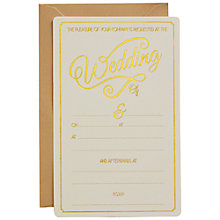 Buy Ginger Ray Ivory & Gold Foiled Wedding Invitations, Pack Of 10 Online at johnlewis.com