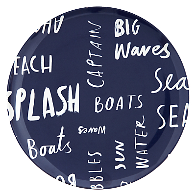 John Lewis Coastal Side Plate Word Art Navy Blue
