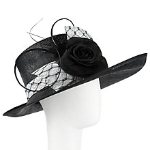 Buy John Lewis Lois Up Brim Veil and Flower Occasion Hat, Black/Ivory Online at johnlewis.com
