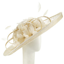 Buy John Lewis Eloise Large Disc Feather Occasion Hat, Champagne Online at johnlewis.com