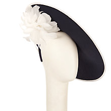Buy John Lewis Tash Shantung Disc and Feather Flower Occasion Hat, Navy/White Online at johnlewis.com