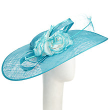 Buy John Lewis Ariel Large Disc and Flower Occasion Hat, Turqoise Online at johnlewis.com