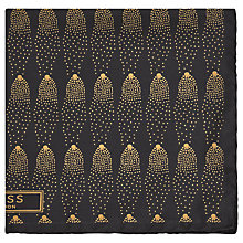 Buy Reiss Steller Waterfall Print Silk Pocket Square, Black/Gold Online at johnlewis.com