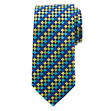 Buy John Lewis Party Square Dot Silk Tie, Navy/Blue/Yellow Online at johnlewis.com