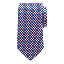 Buy John Lewis Geometric Circle Print Silk Tie, Navy/Pink Online at johnlewis.com