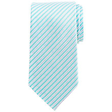 Buy John Lewis Matt Fine Stripe Silk Tie, Aqua/Blue Online at johnlewis.com