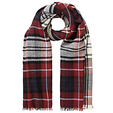 Buy John Lewis Double Faced Check Scarf, Red Online at johnlewis.com
