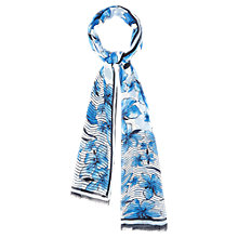 Buy Viyella Flower and Stripe Border Scarf, Navy Online at johnlewis.com