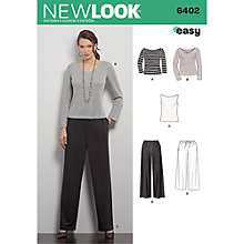 Buy New Look Women's Trousers and Top Sewing Pattern, 6402 Online at johnlewis.com