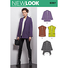 Buy New Look Women's Jacket and Vest Sewing Pattern, 6397 Online at johnlewis.com