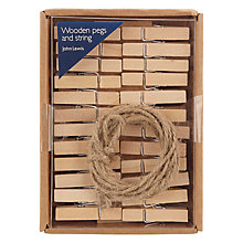 Buy John Lewis Coastal Wood Pegs and String, Pack of 24 Online at johnlewis.com