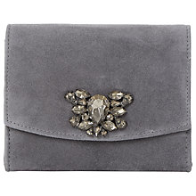 Buy Dune Bernadette Embellished Clutch Bag, Grey Suede Online at johnlewis.com