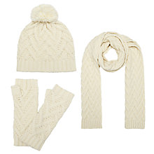 Buy John Lewis Zig Zag Pattern Scarf, Beanie and Handwarmers Set Online at johnlewis.com