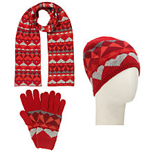Buy John Lewis Geometric Fairisle Scarf, Beanie and Gloves Set Online at johnlewis.com