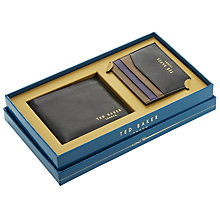 Buy Ted Baker Bigcold Leather Wallet and Card Holder Gift Set, Black/Tan Online at johnlewis.com