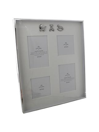 John Lewis & Partners Baby Multi-aperture Collage Photo Frame, 4 Photos, Silver Plated