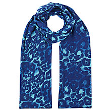 Buy Windsmoor Animal Print Scarf, Turquoise Online at johnlewis.com