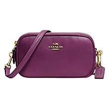 Buy Coach Leather Across Body Pouch, Purple Online at johnlewis.com
